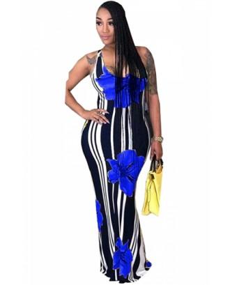 Plus Size Scoop Neck Striped Floral Print Maxi Dress Blue