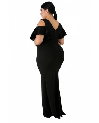 Plus Size V Neck Cut Out Split Plain Maxi Evening Dress Black