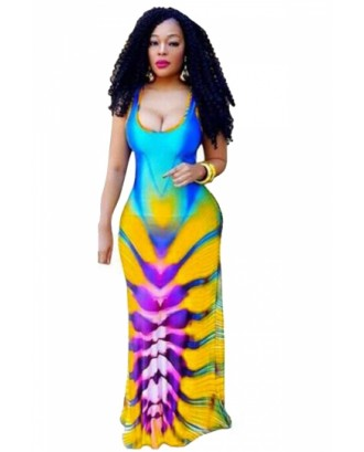 Plus Size Scoop Neck Sleeveless Cut Out Print Maxi Dress Yellow