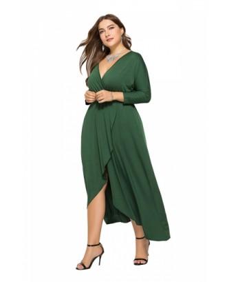 Elegant Plus Size V Neck 3/8 Sleeve Wrap Plain Maxi Dress Green