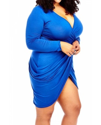 Sexy Deep V Neck Long Sleeve Plus Size Club Dress Blue