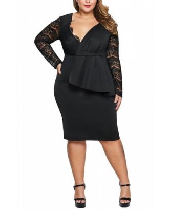 Plus Size V Neck Peplum Evening Dress Black