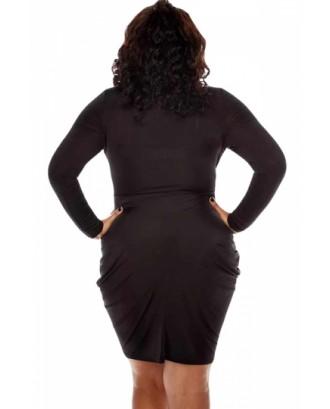 Sexy Deep V Neck Long Sleeve Plus Size Club Dress Black