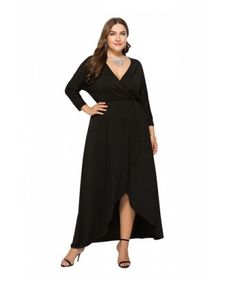 Elegant Plus Size V Neck 3/6 Sleeve Wrap Plain Maxi Dress Black