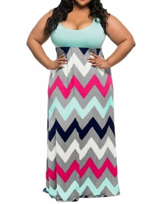 Cheap Plus Size Tank Top Chevron Zig Zag Stripe Maxi Dress Blue