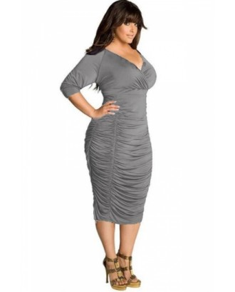 Plus Size Plain Wrap V Neck Ruched Empire Waist Midi Bodycon Dress Gray