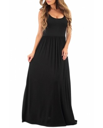 Plus Size Scoop Neck Plain Sleeveless Pleated Maxi Dress Black