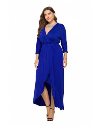 Elegant Plus Size V Neck 3/9 Sleeve Wrap Plain Maxi Dress Sapphire Blue