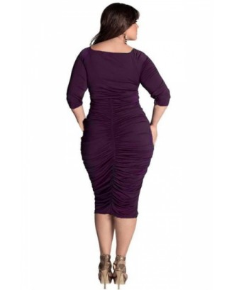 Cheap Plus Size Wrap V-Neck Ruched Midi Dress Purple