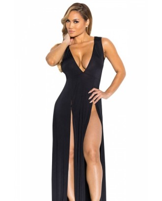 Sexy V Neck Slit Front Sleeveless Maxi Black Club Dresses