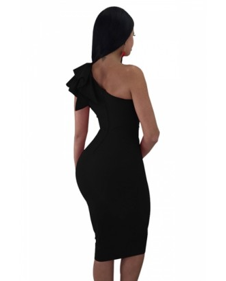 One Shoulder Sleeveless Ruffle Plain Bodycon Clubwear Dress Black