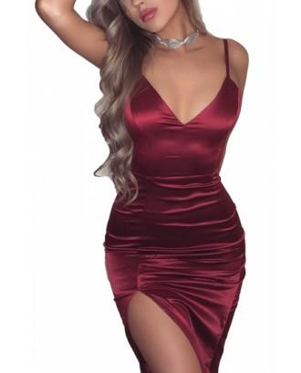 Womens Sexy V Neck Sleeveless Slit Silky Bodycon Slip Club Dress Ruby