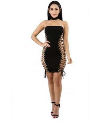 Sexy Chocker Cross Lace Up Bodycon Plain Clubwear Tube Dress Black