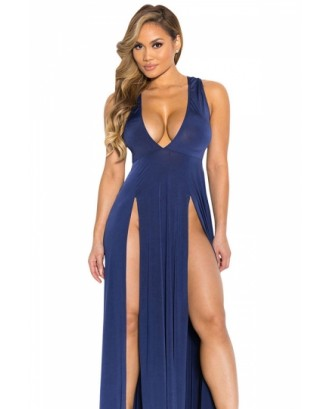 Sexy V Neck Sleeveless High Two Slits Front Maxi Blue Club Dresses