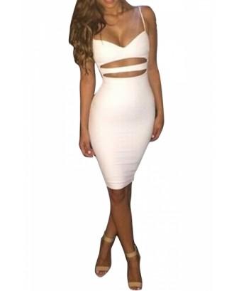 Sexy Spaghetti Strap Sleeveless Cut Out Knee Length Bodycon Dress White