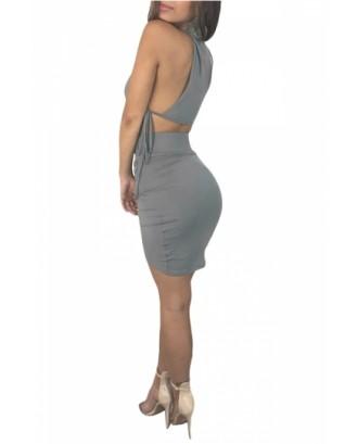 Sexy Sleeveless Side Tie Crop Top Two-Piece Mini Clubwear Dress Gray