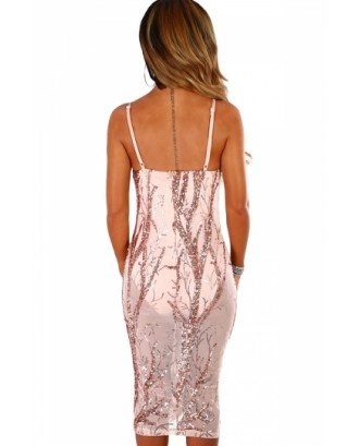 Sexy Spaghetti Straps Sheer Sequined Bodycon Midi Dress Pink