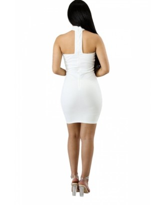 Sexy Chocker Cross Lace Up Bodycon Plain Clubwear Tube Dress White
