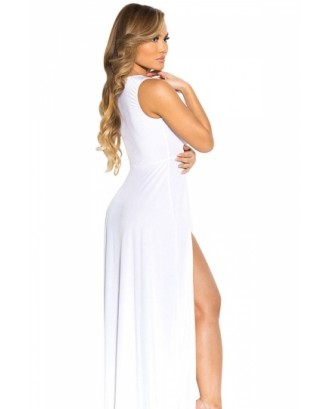 Sexy V Neck Slit Front Sleeveless Maxi White Club Dresses