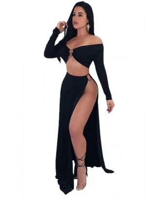 Off Shoulder Long Sleeve Crop Top High Waist Split Club Dress Black