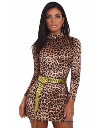 High Neck Long Sleeve Leopard Print Velvet Bodycon Mini Dress Coffee