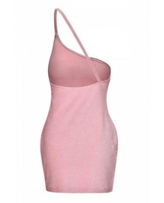 One Shoulder Backless Club Dress Pink