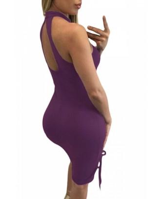 Womens Sexy Lace Up Halter Cut Out Midi Clubwear Dress Purple