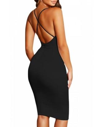 Sexy Sleeveless Backless Criss Cross Plain Bodycon Midi Dress Black