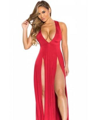 Sexy V Neck Slit Front Sleeveless Maxi Red Club Dresses