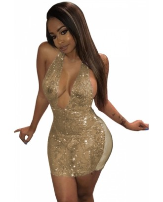 Womens Sexy V Neck Halter Sequined Sheer Bodycon Mini Club Dress Gold