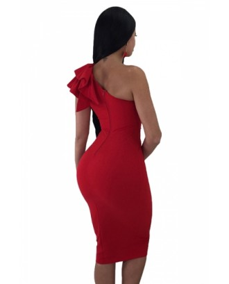 One Shoulder Sleeveless Ruffle Plain Bodycon Clubwear Dress Red