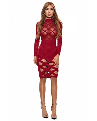 Womens Long Sleeve Sheer Bandage Cut Out Bodycon Clubwear Dress Red