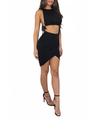 Sexy Sleeveless Side Tie Crop Top Two-Piece Mini Clubwear Dress Black