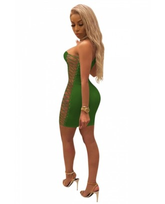 Sexy Chocker Cross Lace Up Bodycon Plain Clubwear Tube Dress Green