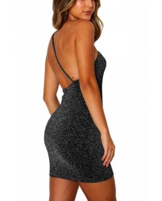 Backless Bodycon Club Dress Black