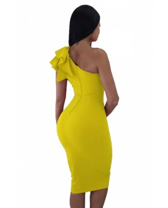 One Shoulder Sleeveless Ruffle Plain Bodycon Clubwear Dress Yellow