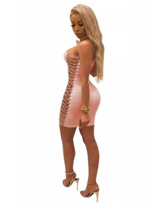 Sexy Chocker Cross Lace Up Bodycon Plain Clubwear Tube Dress Pink