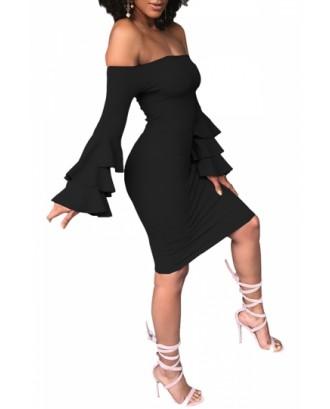 Sexy Bell Sleeve Off Shoulder Bodycon Club Dress Black