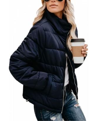 Zip Up Womens Puffer Jacket Navy Blue