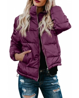Stand Collar Puffer Jacket With Pocket Ruby