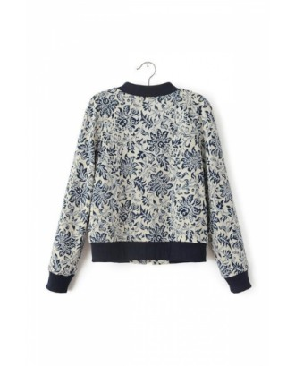 Gray Stylish Womens Long Sleeves Round Neck Floral Print Jacket
