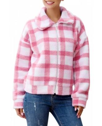 Plaid Sherpa Faux Fur Jacket For Women Pink