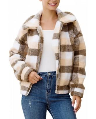 Plaid Faux Shearling Jacket Beige White