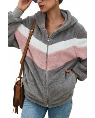 Zip Up Teddy Jacket With Hooded Color Block Gray