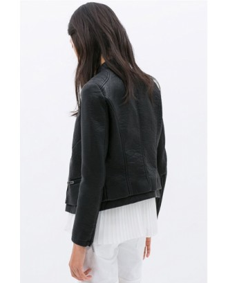 Black Classic Womens Simple PU Leather Plain Jacket
