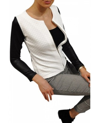 Womens Pretty Patchwork Zipper Front Jacket White