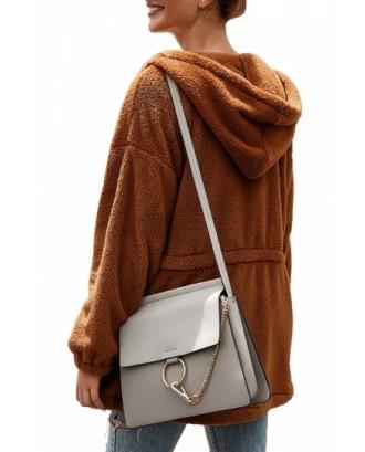Zip Up Fleece Hooded Jacket Brown