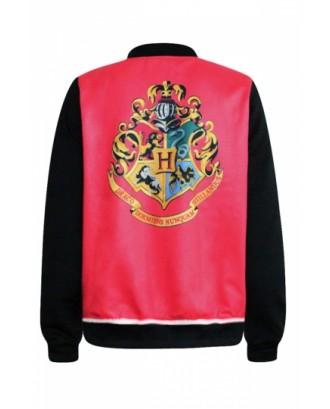 Red Cool Womens Hogg Watts School Badge Printed Jacket