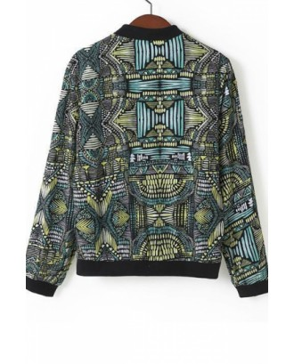 Green Ethnic Womens Long Sleeves Geometric Pattern Print Jacket
