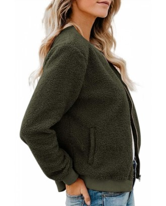 Stand Collar Fuzzy Jacket Long Sleeve Olive